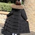 Abajo abrigo de invierno de las mujeres capa de la chaqueta femenina espesamiento delgado del diseño largo ultra de largo sobre la rodilla de piel grande ropa de invierno de cuello