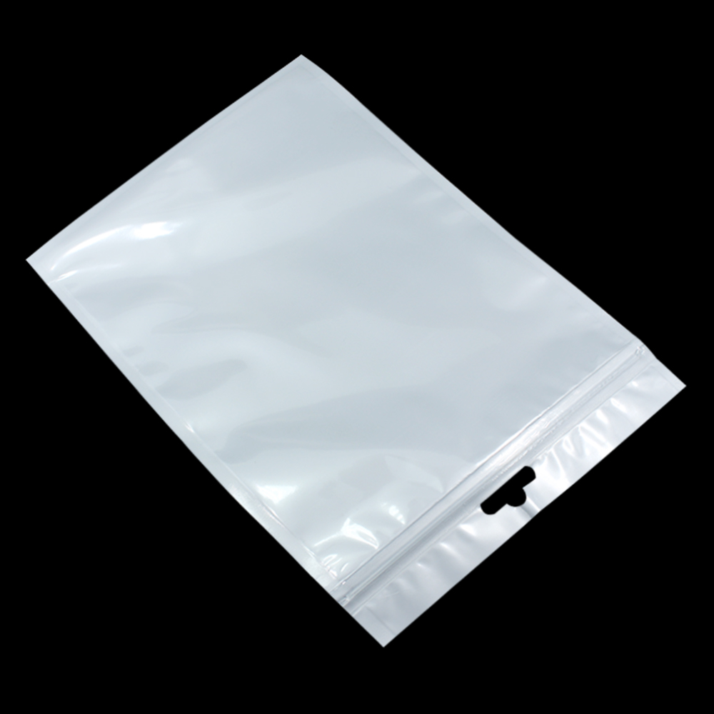 18 26cm White Clear Valve Resealable Zipper Plastic Retail
