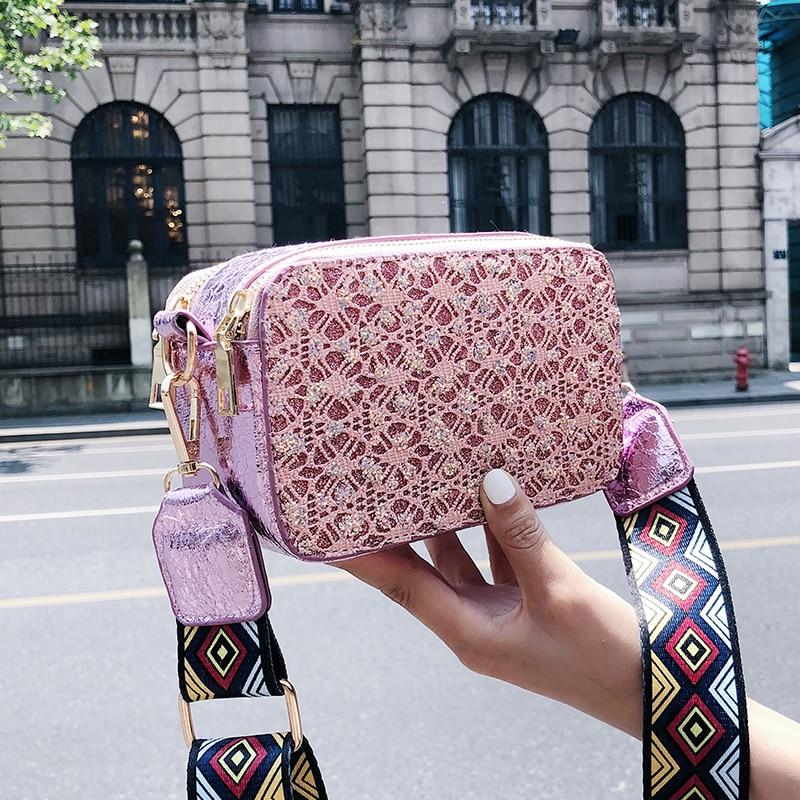 2018 Women Bags Lace Women Messenger Bags PU Leather Handbags Embroidery Color Straps Shoulder Bags Bolsa Feminina 035