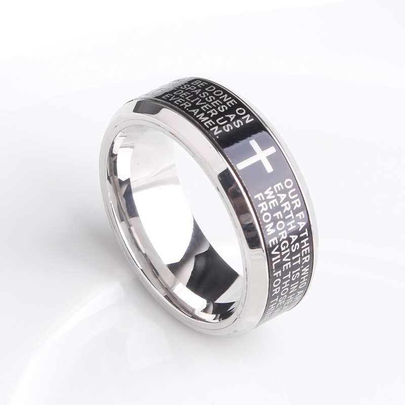 8 มม.สีดำหมุนภาษาอังกฤษ Bible CROSS 316L แหวนแต่งงานสแตนเลสสำหรับผู้ชายผู้หญิงขายส่ง