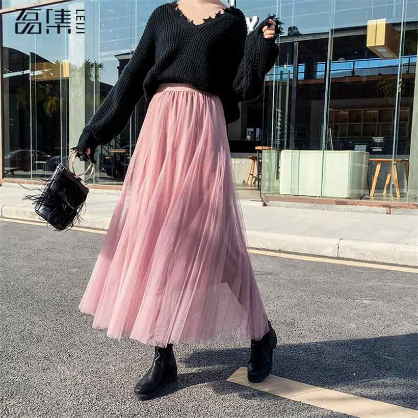 621d6b7236 2019 Spring Fashion Womens Tulle Skirt Casual Princess Fairy Style 3 Layers  Plus Size Long Skirt