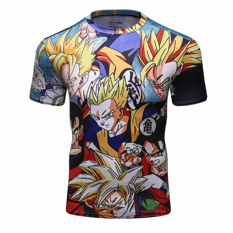 Nova Compressão Camisa Homens Verão Mangas Curtas Vegeta 3D Impressão Calças Justas Pele térmica Sob MMA Rashguard Camisa do Homem T CODY LUNDIN