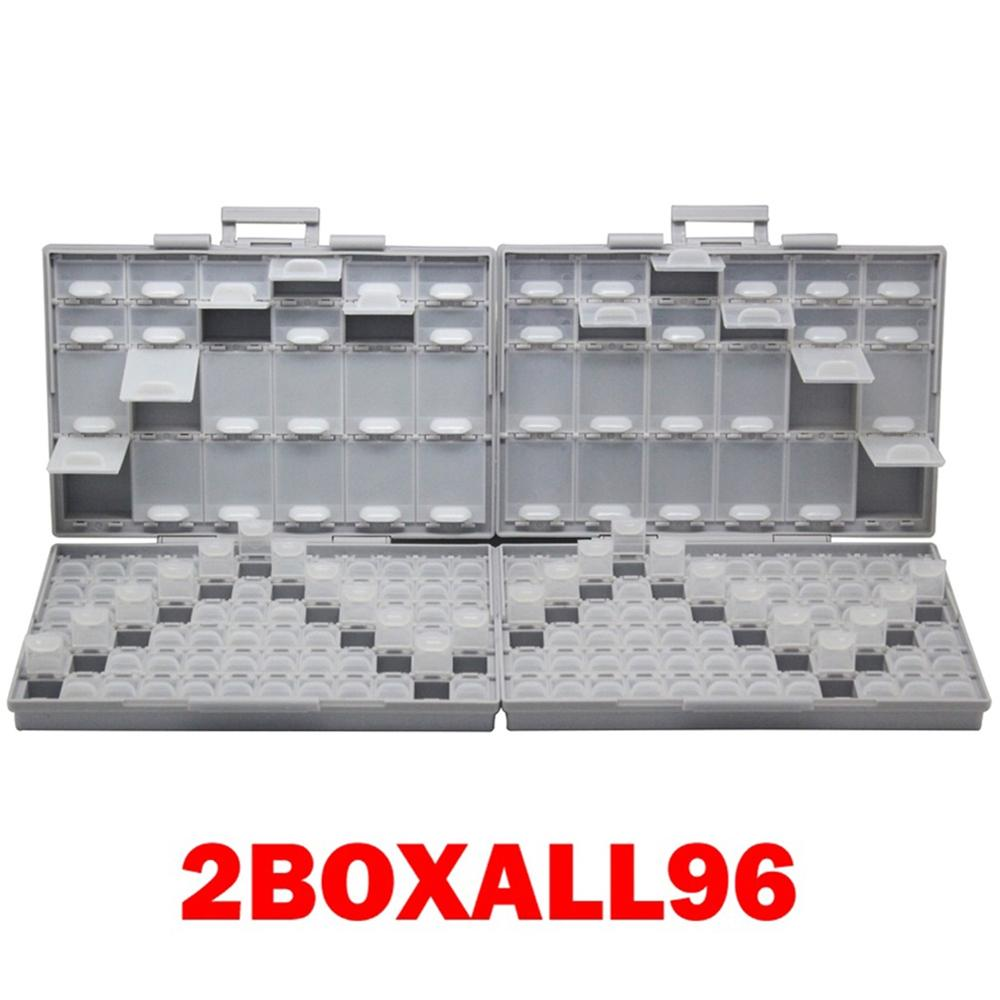 AideTek 2 корпуса поверхностного монтажа резистор конденсатор Электроника хранения ящики и органайзеры 0805 0603 пластиковые инструменты коробка 2 коробки - Цвет: 2BOXALL96
