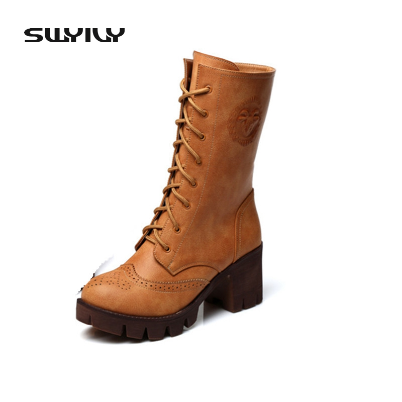 Genuine Leather Women Boots Thick Cotton High-Heeled Boots Female Single Shoes Lace Up Motorcycle Boots In Tube Plus Size 40