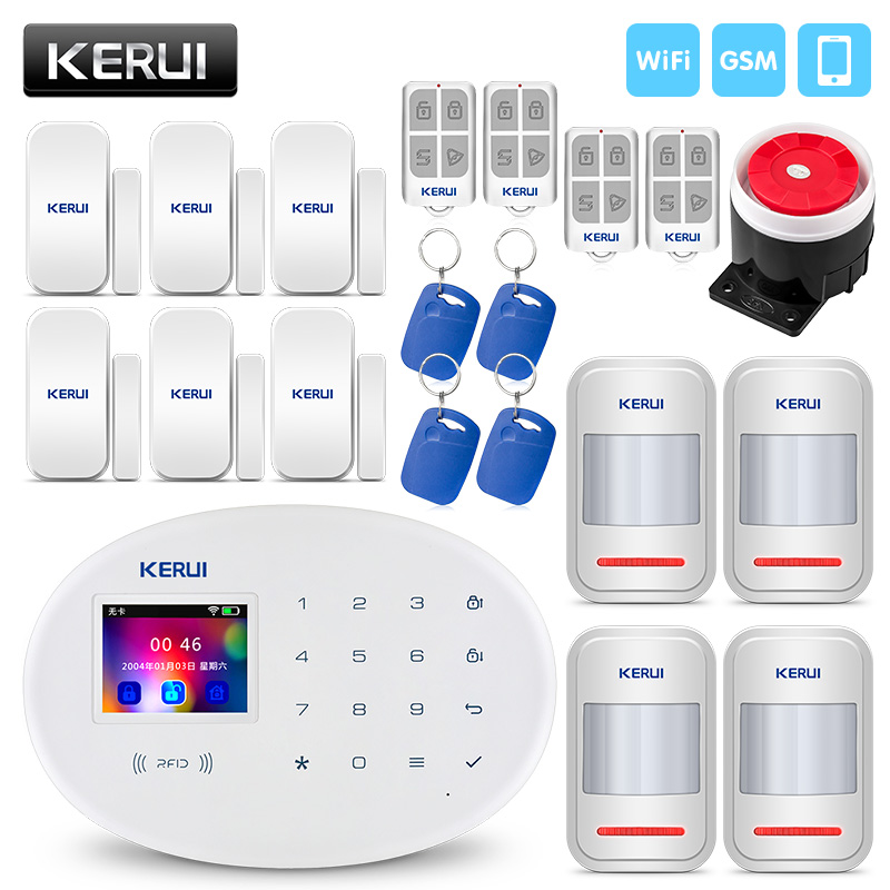 KERUI WIFI GSM Home Security Alarm System With 2.4 inch TFT Touch Panel APP Control RFID Card Wireless Smart Home Burglar Alarm-in Alarm System Kits from Security & Protection    1