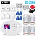 KERUI WIFI GSM sistema de alarma de seguridad para el hogar con Panel táctil TFT de 2,4 pulgadas Control de aplicación tarjeta RFID inalámbrico hogar inteligente alarma antirrobo