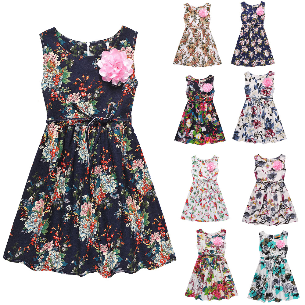 Baby Girls Dresses Summer Sleeveless Knee Length Floral One Piece Dress A Line with Sashes Sweet Kids Casual Fashion Clothing