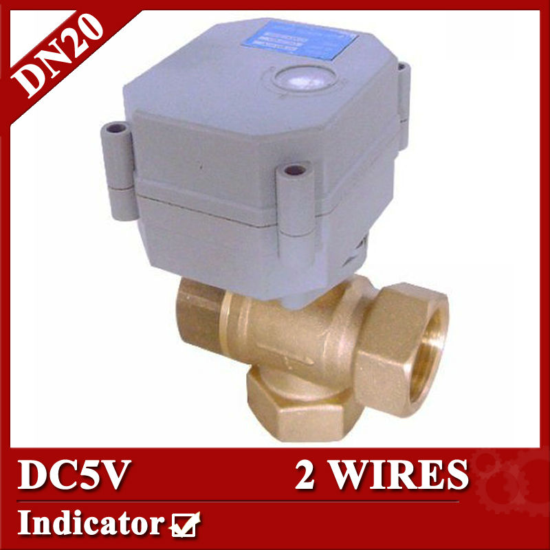 ФОТО T20-B3-C seires 3 way T type 3/4'' actuator valve DC5V,1.0Mpa for solar heating water reatment HVAC fan coil