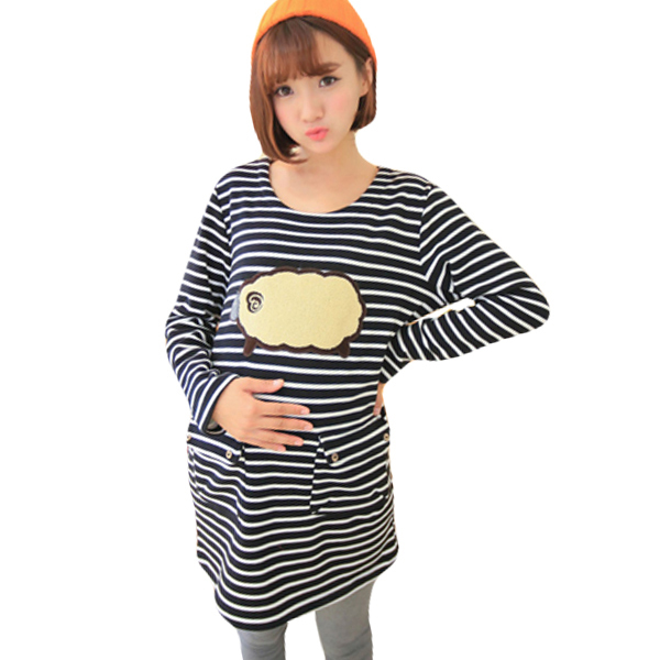 Hot sale Striped Cotton Breastfeeding Tops Clothing Long-sleeved  Warm Clothes plus size  Slim casual Maternity T shirts Nursing hot sale spring autumn long sleeved nursing dress maternity nursing clothes elegant slim breastfeeding clothing nursing clothin