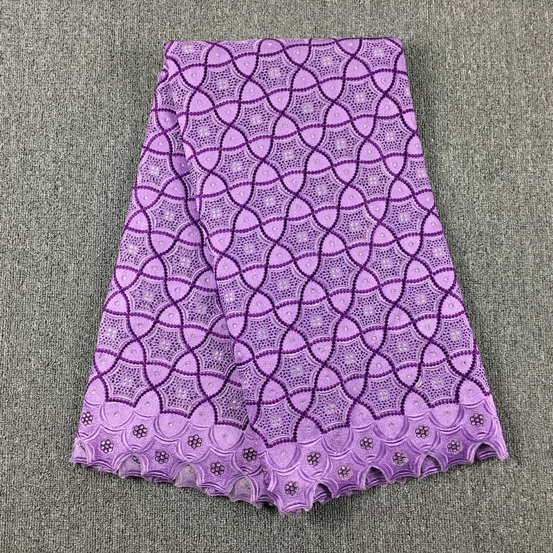 High Quality African Swiss Cotton Voile Lace, Lilac + Purple 036 Free Shipping 5yards/Lot, 100%Cotton Lace For Wedding