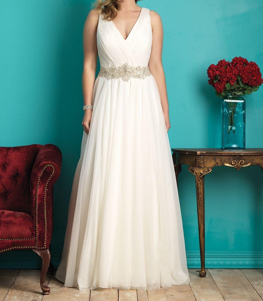 MZYH61 White/Ivory V Neck Beaded Belt Tulle Wedding Dress