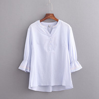 New V neck Organza Embroidered Shirt White cotton Blouse Top Plus Size Summer Korean Women Blouse Flower Print Blouse