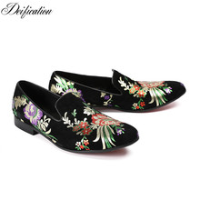 Deification Designer Chaussure Homme Flowers Printed Mens Loafers Slip-On Casual Male Flats Comfortable Cow Leather Shoes Men deification mocassin homme red flower embroidered mens flats loafers velvet slippers comfortable leather shoes men wedding shoes