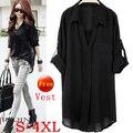 Mulheres blusas de verão encabeça 2015 novo tamanho grande xxxxl preto manga comprida v neck casual solto chiffon blusa