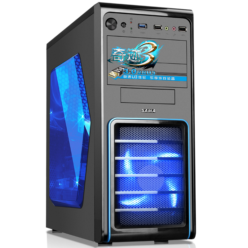 SAMA Miracle Standard Edition desktop computer chassis U3 black Support SSD Send 2 fans  two LED fans Large side through jonsbo rm3 black itx aluminum chassis matx computer chassis bilateral through support the back line usb3 0