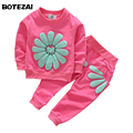 2016 girls clothing sets cartoon sunflower 2016 spring autumn children's wear cotton casual tracksuits kids clothes sports suit