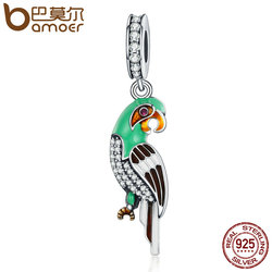 BAMOER Genuine 925 Sterling Silver Adorable Parrot , Colourful Enamel Dazzling CZ Charms fit Women Bracelets Jewelry S925 SCC218
