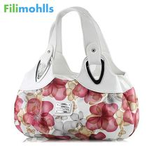 Fashion Korean handbag beautiful Women PU leather Bag Tote Bag Printing Flower Handbags six style Satchel drop D30(China)