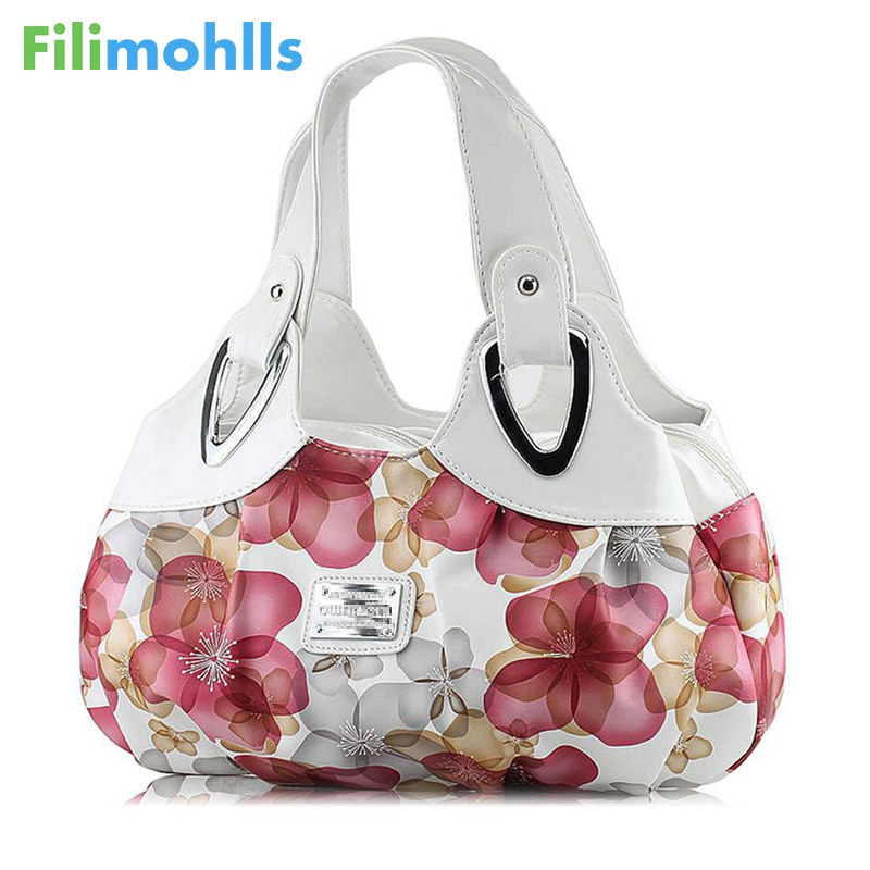 Fashion Korean handbag beautiful Women PU leather Bag Tote Bag Printing Flower Handbags six style Satchel drop D30