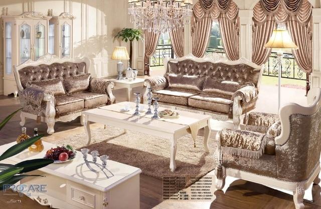 Européenne style brun fauteuil canapé ensemble de meubles de salon