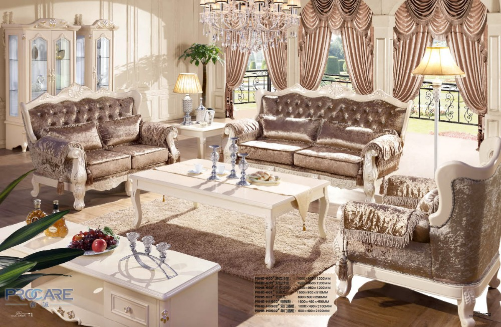 European style brown armchair sofa set living room for Drawing room furniture set