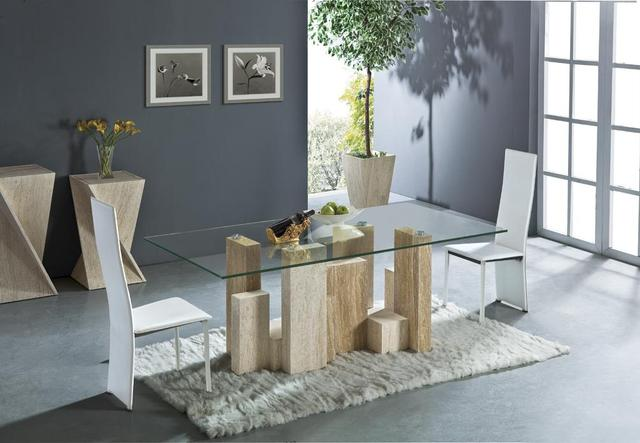 White Travertine And Yellow Dining Table Set High Quality Natural Marble Furniture Rectangle
