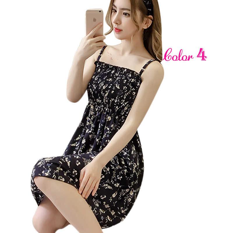 a54a2300963b2 Women Summer Flower Chiffon Dress Girl 2018 Midi Sundress Beach Maxi Robe  Dresses Korean Style Print Elegant Sleeveless Dress