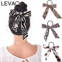 LEVAO Leopard Print Bow Scrunchie Women Elastic Bohemian Hairband Bow Hair Rubber Ropes Girls Hair Ties Accessories(China)
