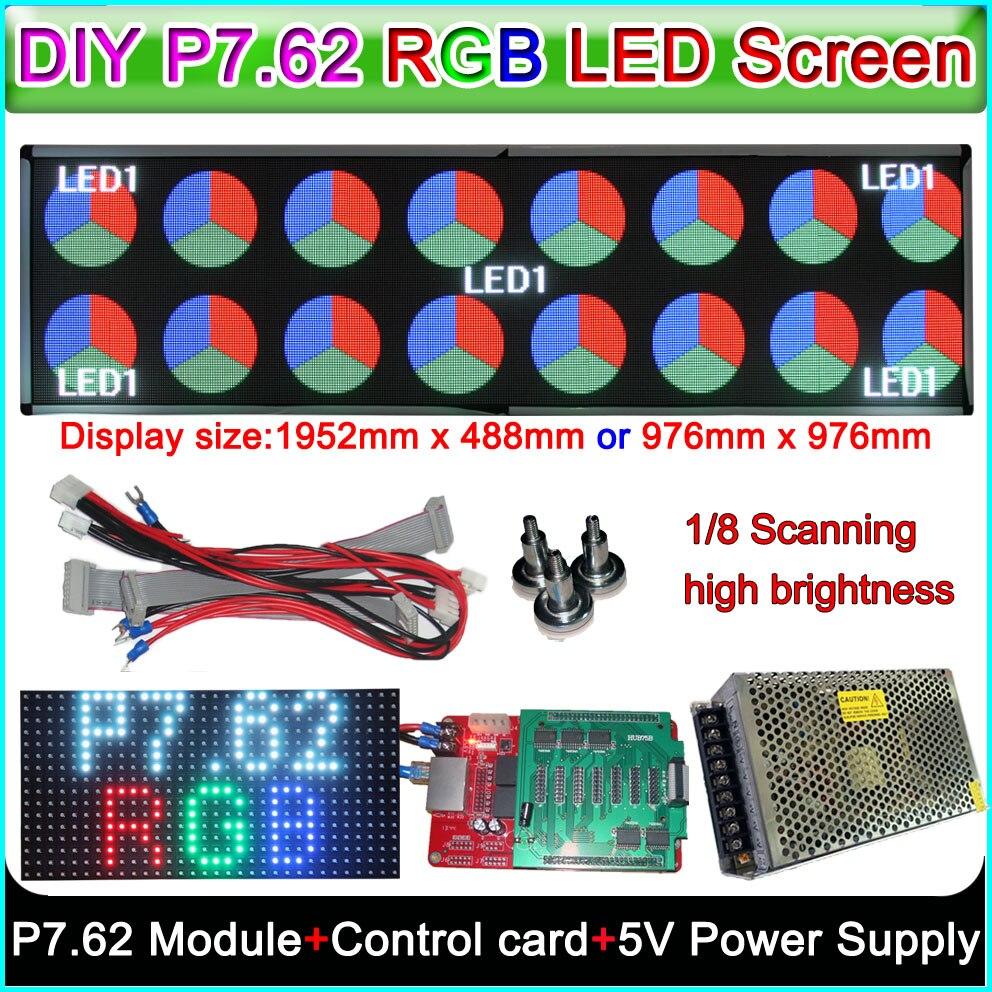 DIY Светодиодные дисплеи видеостены, полноцветные рекламные вывески RGB P7.62mm светодиодный модуль + i5af двойного режима карты контроллера + 5 В ис