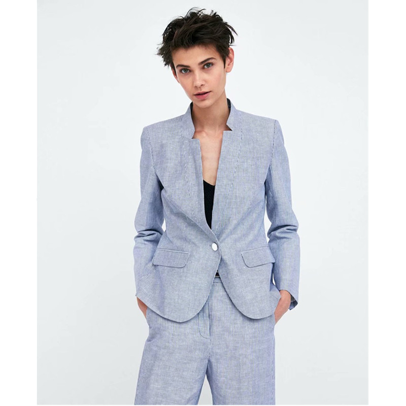Navy Stripe Neutral Women's Pants Suits Normcore Minimalist Suits Cool Girl Neutral Suits Custom Made 2 Piece Jacket/Pants W46