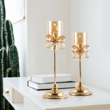 Europe candle holders Crystal flower holder wedding decoration table centerpieces Candlestick centro de mesa home decor