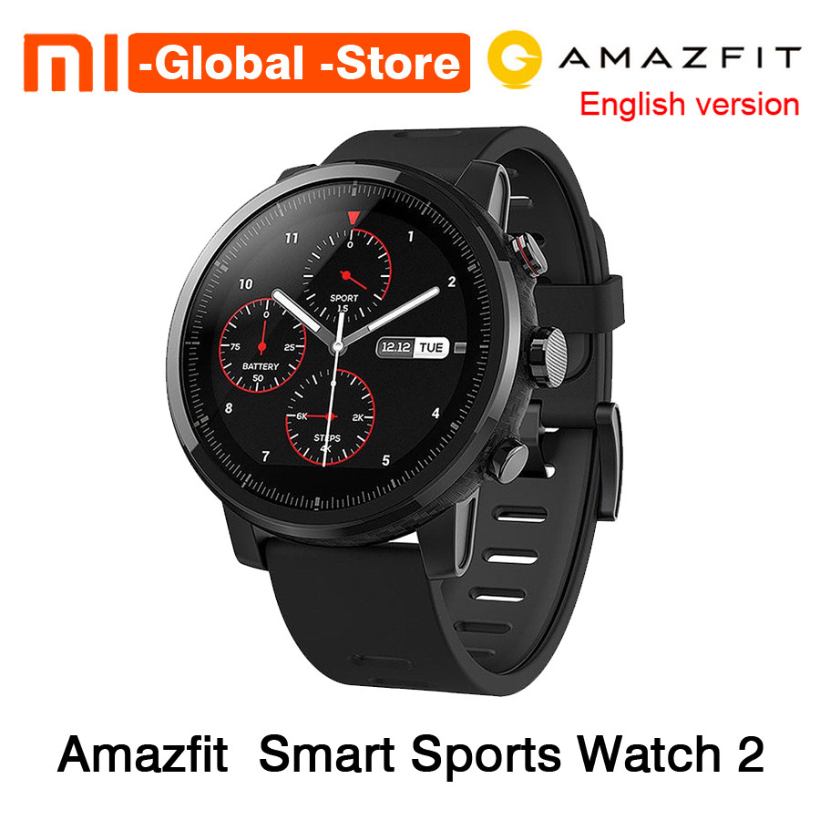 xiaomi mi huami amazfit smart watch stratos 2 english version sports smartwatch with gps ppg heart rate monitor 5atm waterproof [English Version] Xiaomi Huami Amazfit Stratos Smart Sports Watch 2 GPS 5ATM Water 1.34'' 2.5D Screen Firstbeat Swimming Watch