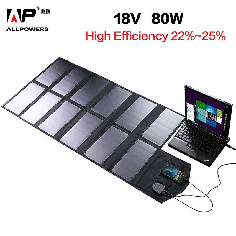 ALLPOWERS panneau solaire 80 W Solaire Batterie chargeur pour iphone Sumsung Téléphones Lenovo HP Dell Acer Ordinateurs Portables 12 V Batterie De Voiture etc.
