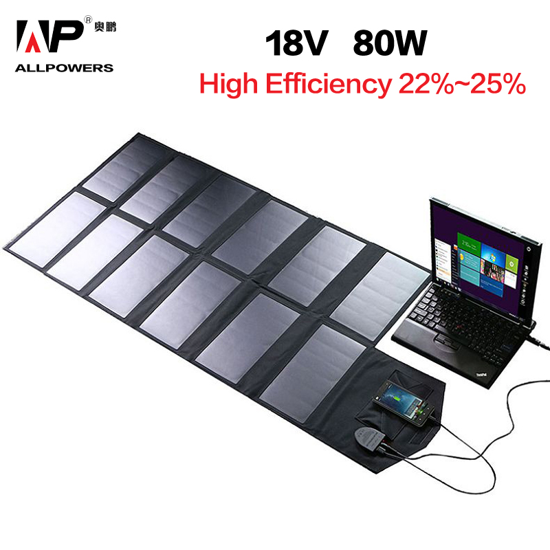 Allpowers Zonnepaneel 80W Solar Battery Charger Voor Iphone Sumsung Telefoons Lenovo Hp Dell Acer Laptops 12V Auto batterij Etc. - 1