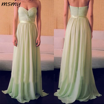 Simple Evening Dresses A-Line Chiffion 2019  Prom Dress Sweetheart Floor Length Long  Evening Gowns Custom Made Vestido de noche