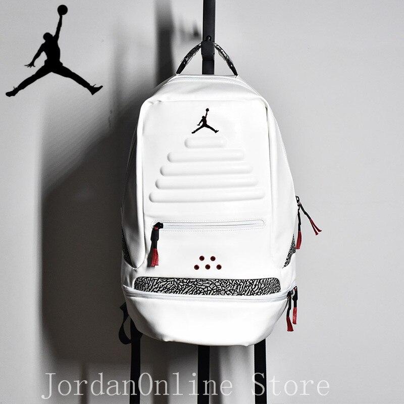 Original Jordan Retro AJ3 Sport Bags Men Women Bookbag Climbing Laptop Bag  Sport-Backpack Quality Couple Bag White Color a082108e136a6