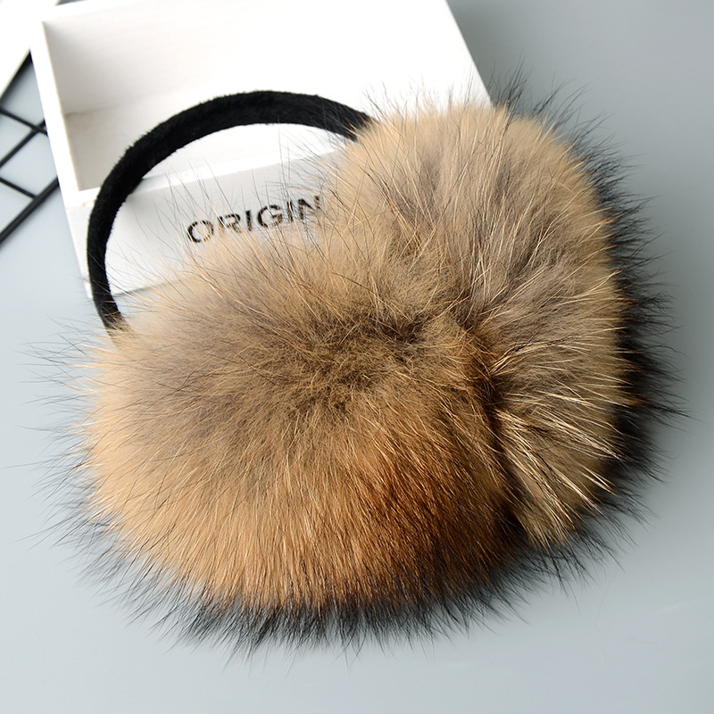 MIARA.L Korean Style Fashionable Ski Warm Fur Earmuffs Ear Cover Large Real Raccoon Fur Ear Package Earmuffs Adjustable