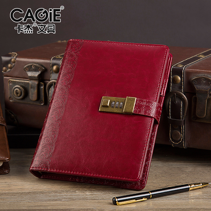 CAGIE A5 Leather Notebook Vintage Diary With Lock Sketchbook Planner 2018 Spiral Binder Filofax Agenda Notebooks and Journals sketchbook diary agenda planner organizer planner spiral notebook a5 planner binder address book notebook filofax exercise book
