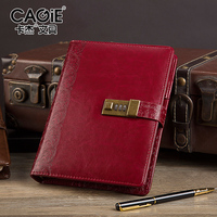 Cagie 2016 Vintage Password Lock Spira Notepad Business Office Diary Notebooks Give A Pen As Present