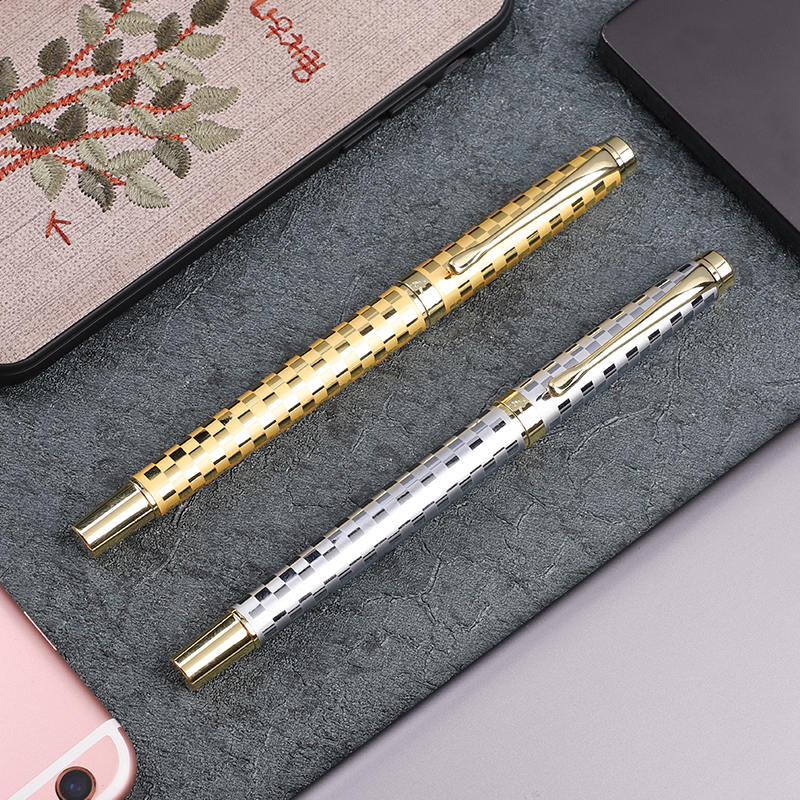 1pc/lot Exquisite 0.5mm Fountain Ink Pen F Nib Gold Silver Creative Business Gift Pens High-end School Office Stationery 1pc luxuy wood metal fountain pen 0 5mm f nib retro black brown red gold clip high end business office heavy gift pens