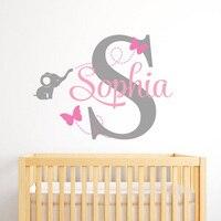 Mariposas Nombre Personalizado Pared Decal Baby Nursery Room Personalizada Letra Inicial StickersAnimals Vinilo Decoración de Pared L153