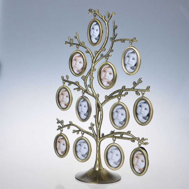 Free Shipping 12pcs Metal Tree of Life Collage Family Hanging Picture Frame Stand Hot home decoration
