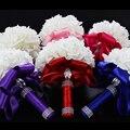 Новая Мода Свадебный Букет 2016 Искусственный Пена Розы Невесты Букет с Лентой Кристалл Горного Хрусталя Свадебные Букеты