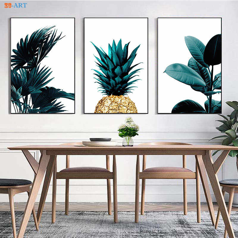 Nordic Tropical Palm Leaves Canvas Painting Pineapple Posters and Prints Wall Art Greenery Wall Pictures Living Room Decoration