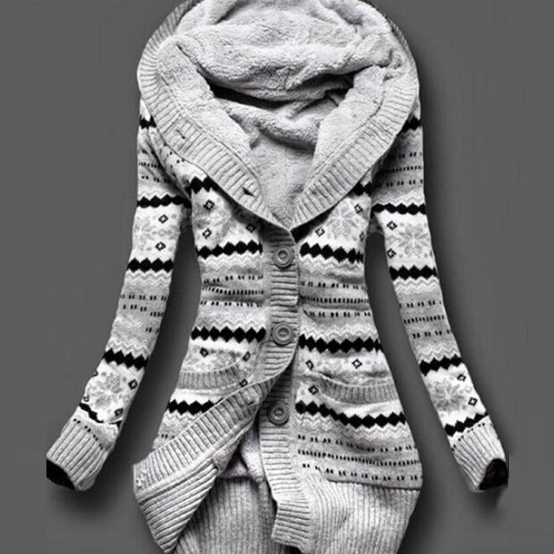 Hot Women Winter Thick Hooded Cardigans Sweaters Fleece Warm Solid Loose Knitted Coat Long Sleeve Knitwear Outerwear CGU 88