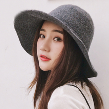HT1949 Panama Bucket Hat High Quality Women Wool Warm Autumn Winter Knitted Hats for Ladies Solid Plain Wide Brim