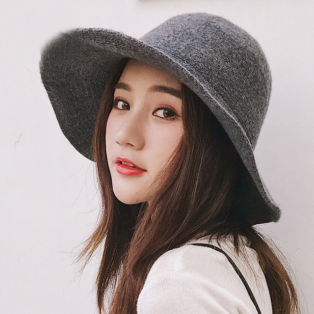 a1c0f3fb2cc HT1949 Panama Bucket Hat High Quality Women Wool Hat Warm Autumn Winter  Knitted Hats for Women