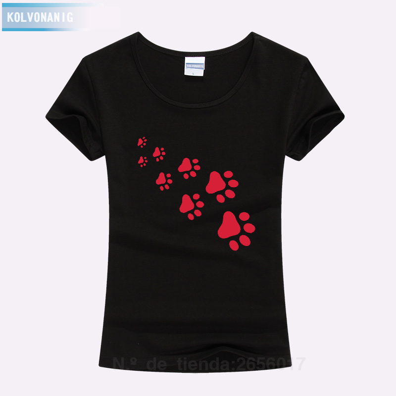 KOLVONANIG 2019 Summer Cat Paws Print Women Tshirt Cotton Funny Slim T Shirt For Lady Top Tee T-shirt For Girls Kawaii T-Shirt