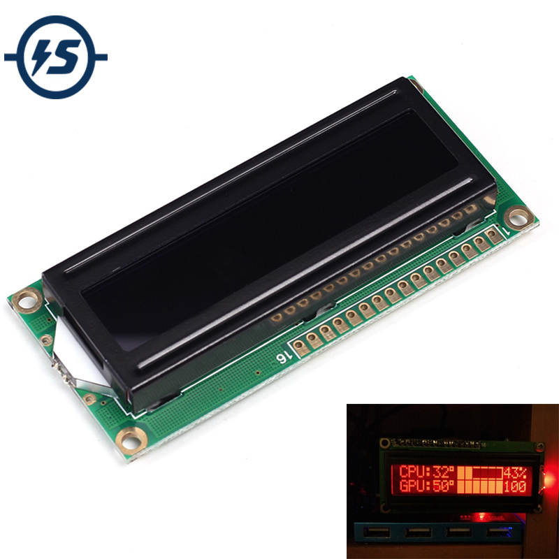 IS 5V 1602A Screen <font><b>LCD</b></font> <font><b>16x2</b></font> Red Character Dot <font><b>LCD</b></font> Matrix 1602 Red <font><b>LCD</b></font> <font><b>Display</b></font> Module Black Background Parallel Port e_goto store image