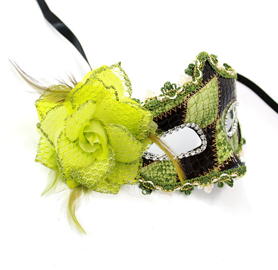 Green and black colored drawing halloween mask masquerade masks mask flower